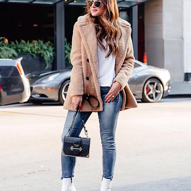 long fur coat white