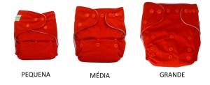 Repara que esta é a mesma fralda, o que muda é o ajuste dos botões, transformando em P, M ou G