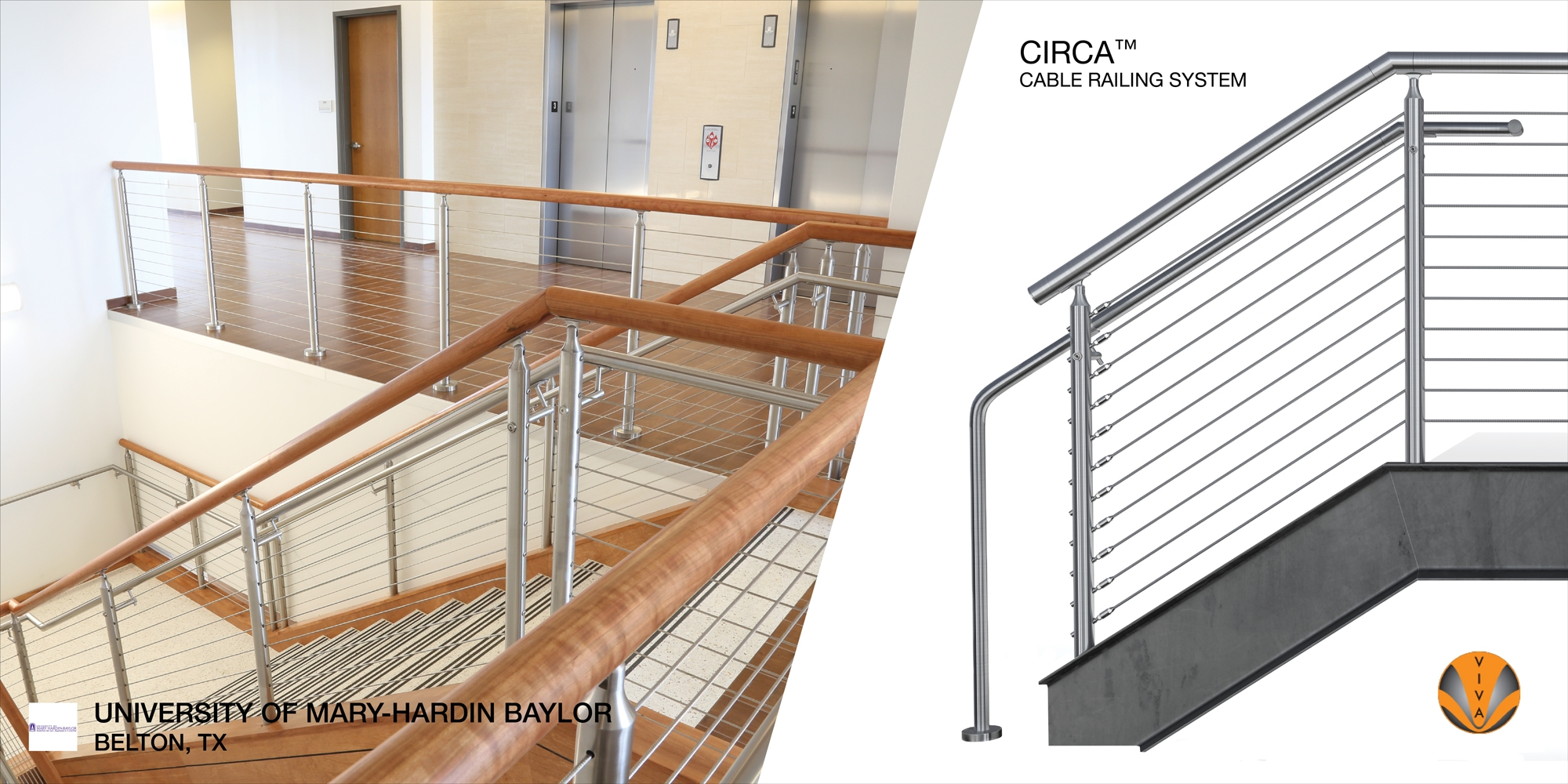 Cable Stair Railing System Circa™ University Of Mary Hardin Baylor | Wood And Cable Stair Railing | Dark | Diy | Exterior Irregular Stair | Residential | Forgings