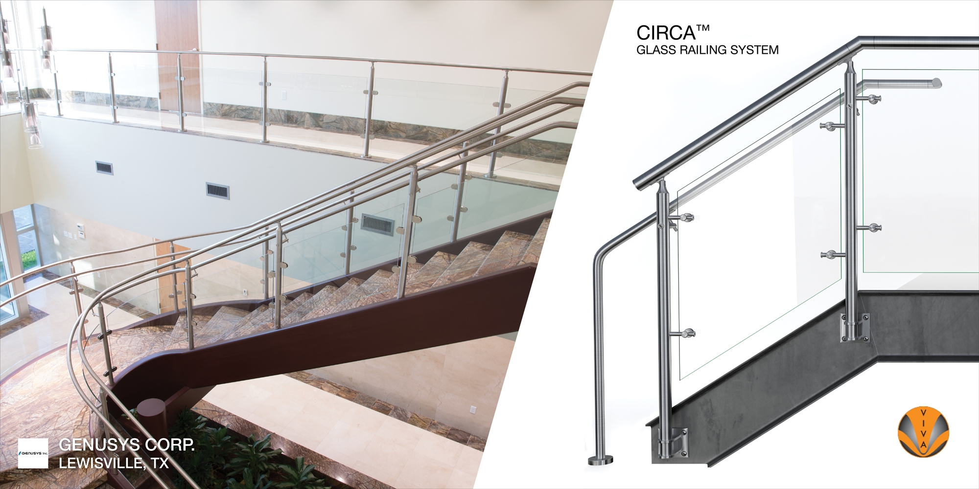 Curved Glass Railing System Circa™ Genusys Corporation | Glass Railing For Stairs Price | Curved Glass Balustrade | China | Spiral Staircase | Frameless Glass | Cable Railing