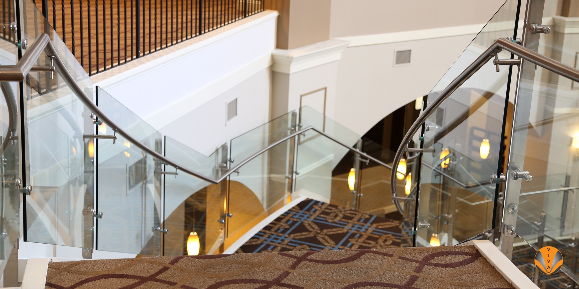 Blade Balcony Glass Railing Sheraton Hotels Resorts Delaware   Glass Stair Railings Interior   Indoor   Architectural Modern Wood Stair   Stair Banister   Stainless Steel   Glass Balustrade