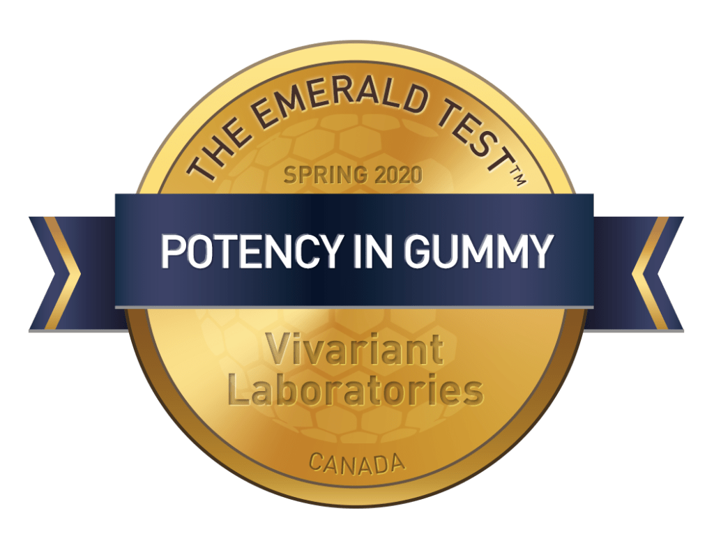 The Emerald Test Gold Badge for Proficiency in Potency in Gummies.