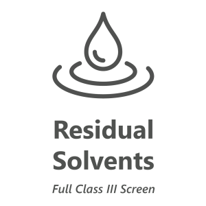 Web store icon for 1 target residual solvent chemistry test.