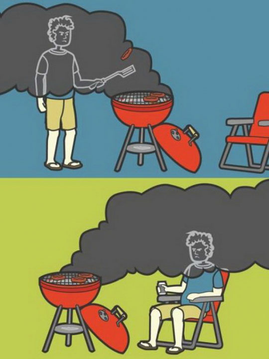 That feeling of being grilled while you grill.