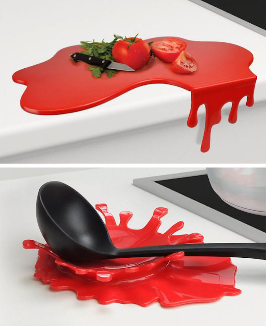 Messy chopping board and spoon holder