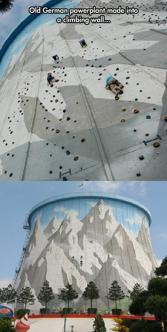 cool German power plant climbing wall 1