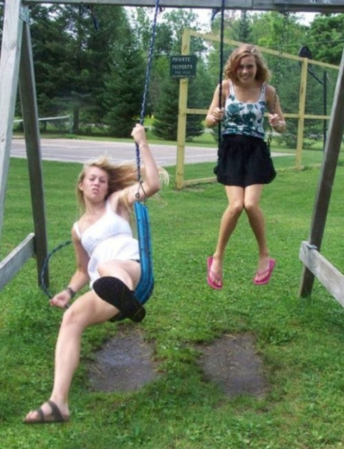 The perfectly timed swing set sabotage photo: