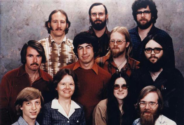 The Microsoft staff in 1978. (Bill Gates lower left, Paul Allen lower right)