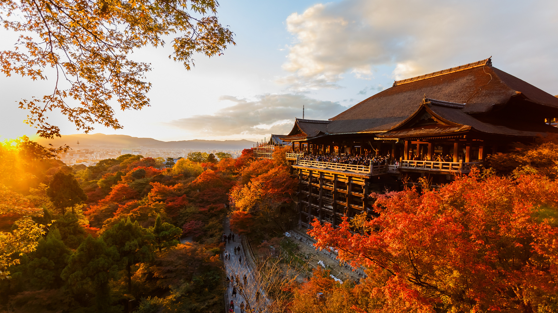 KYOTO, JAPAN - NOVEMBER 19: Kiyomizu-dera in Kyoto, Japan on November 19, 2013. Founded in Heian period in 798, the present building was constructed in 1633 by Tokugawa Iemitsu