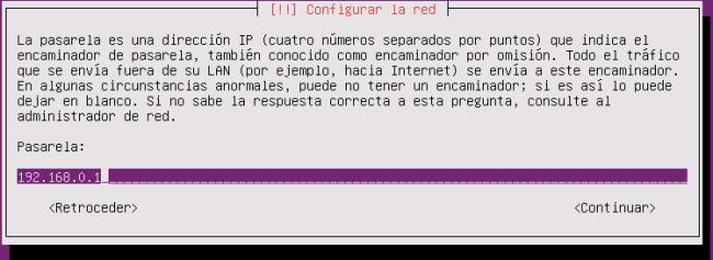 ubuntu server 16.04.1 puerta de enlace
