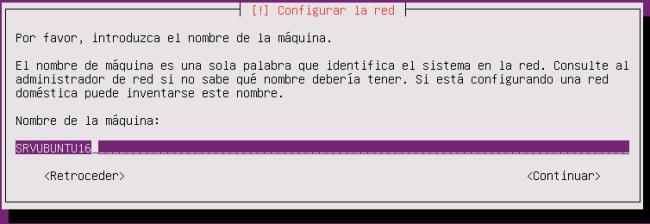 ubuntu server 16.04.1 LTS Nombre de máquina