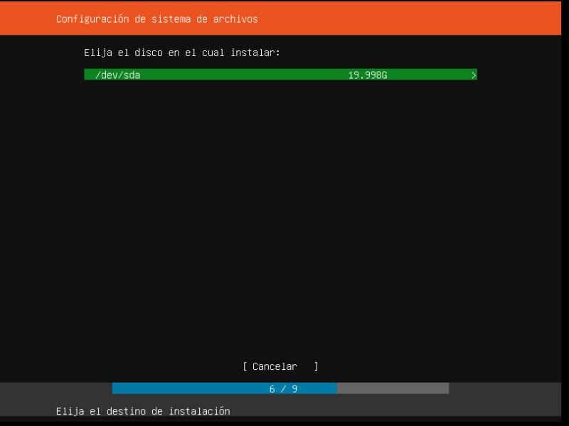 INSTALAR UBUNTU SERVER 18.04 LTS configuracion del sistema de archivos elija disco duro
