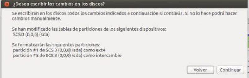 INSTALAR UBUNTU DESKTOP 16.04 LTS aplicar cambios de disco