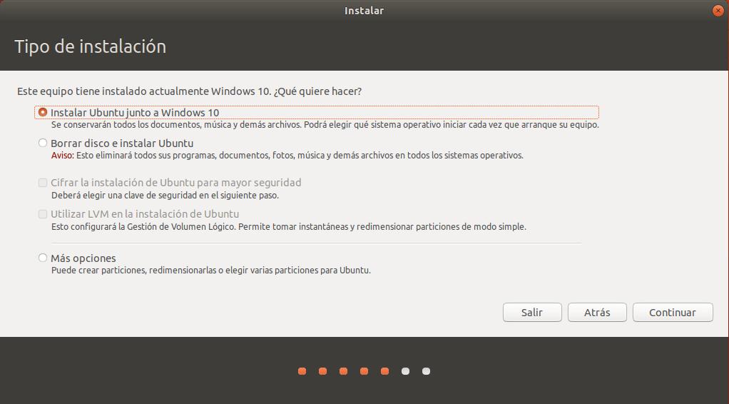 instalar ubuntu junto a windows 10 _ tipo de instalacion