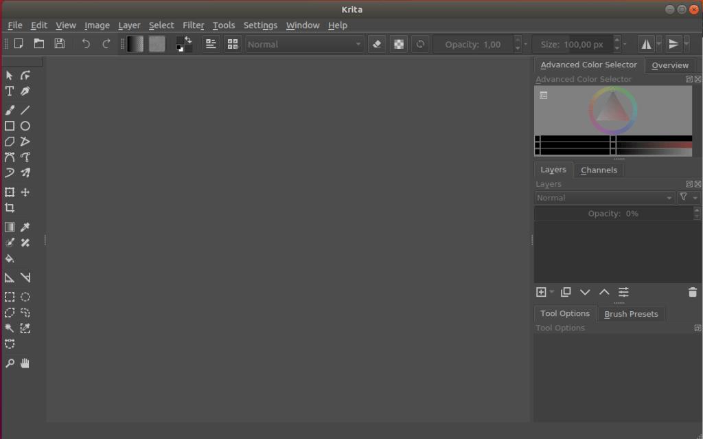instalar krita en ubuntu_interfaz gráfica