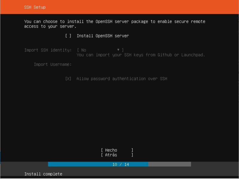 ubuntu server 19.04 instalar SSH setup