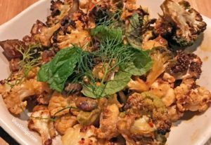 Picture of the charred cauliflower side dish from True Food Kitchen autumn 2016 menu.