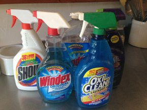 I found these useful cleaning supplies in a box. I'm bringing them upstairs so I can actually use them.