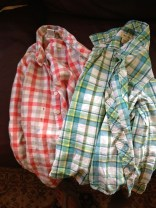 Shirts the boys grew out of and totally trashed at camp. TRASH.
