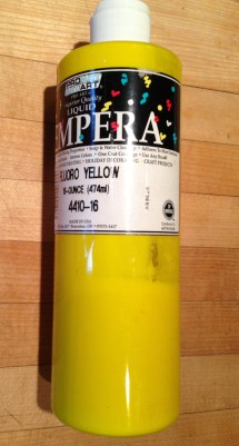 Fluorescent yellow tempera paint. DONATE TO SCHOOL.
