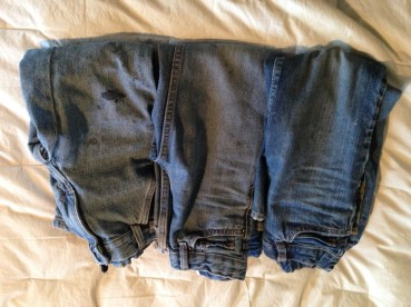 It's just three pair of kids' jeans, but it's something. DONATE