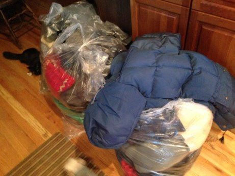 These bags of clothes are on auction. BOOM!