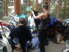Sorting the piles, bagging and loading up.
