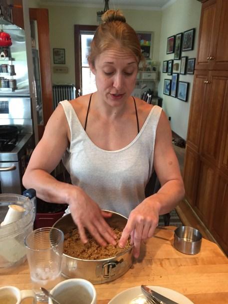 Shaina helps me make cheesecake