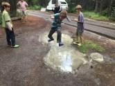 One short rainstorm left convenient puddles