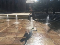 Who can jump over the fountain without getting wet?