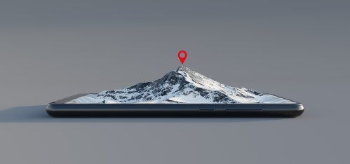 Mountain coming out of the smartphone screen, location on the top