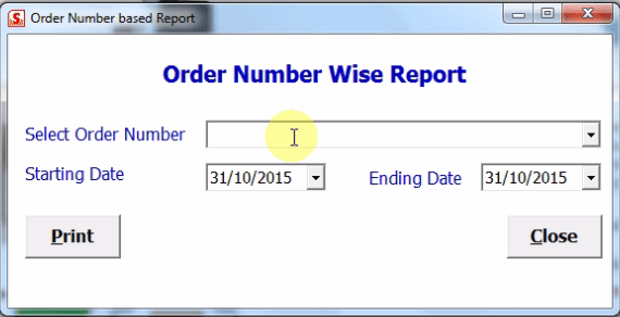 Order number wise report