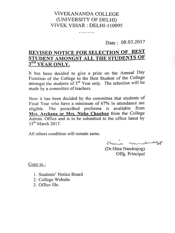 Revised Notice For Selection Of Best Student Amongst All
