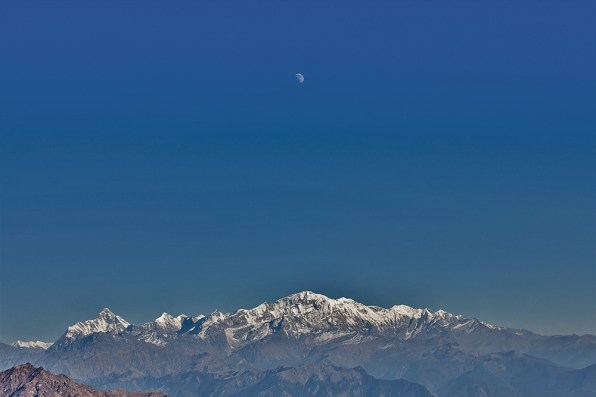 Moonrise over Nandadevi and Trishul peaks