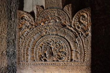Fine carvings adorn the pillars in Ajanta caves