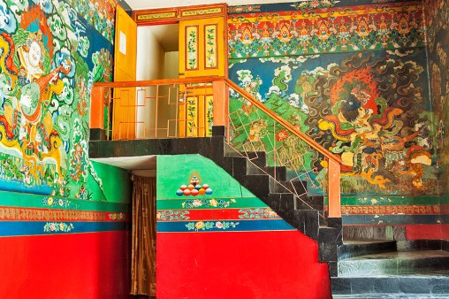 Stories from Tibetan mythology adorn the walls