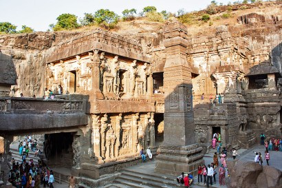 Ellora Caves - A World Heritage site spanning the period between 5th - 11th century AD. It is famous for Buddhist monasteries, Hindu and Jain temples. This image shows the world's biggest caved 'Kailash Temple' with Dhwajstambh.