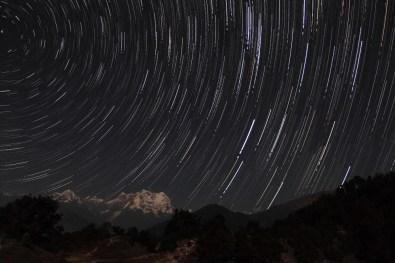 Star trails over Chaukhamba (height 7138 mts) at Deoriatal, Uttarakhand