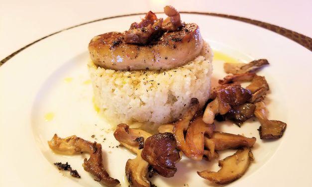 Risotto de chou-fleur au pleurote et foie gras de canard poêlé