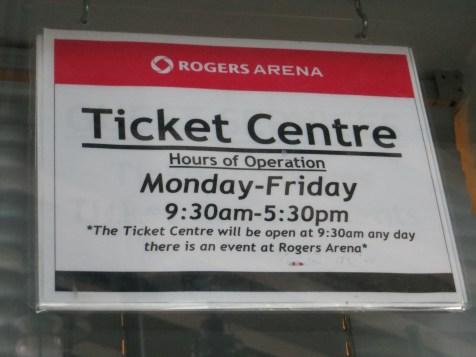 Horários de atendimento no Rogers Arena