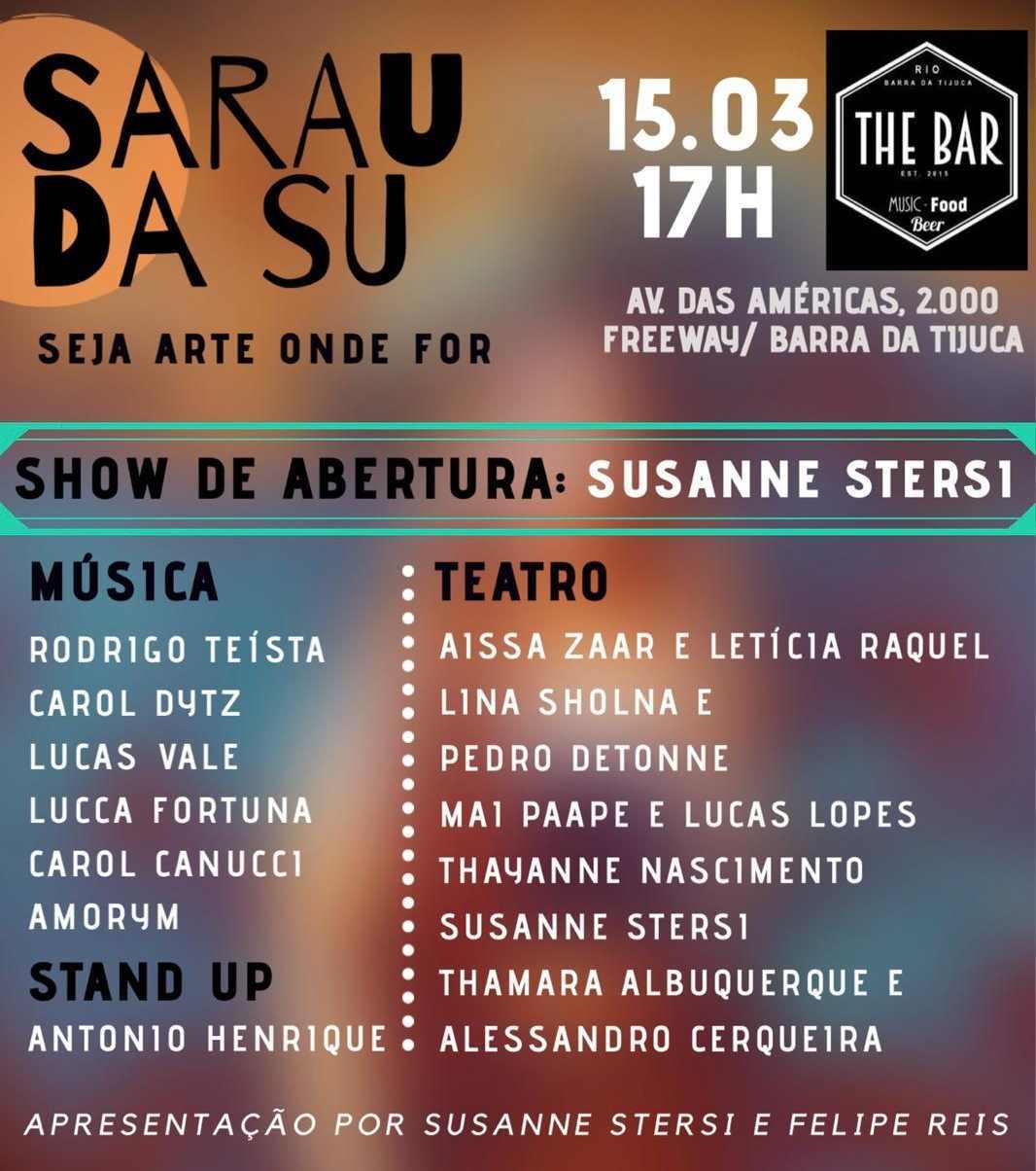 Susanne Stersi apresenta o Sarau da Su. Veja no Vivente Andante.