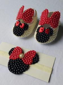 sapatinhos e faixas para bebê minnie vermelha