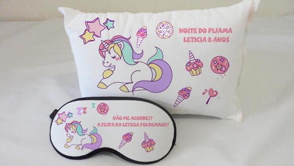 Kit almofada Noite do Pijama Unicórnio