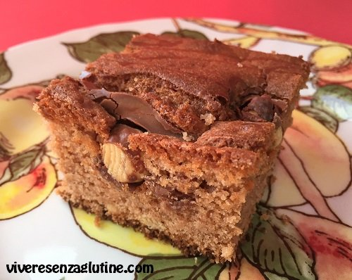 Gluten-free brownies with milk chocolate and hazelnuts