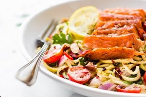 Cajun Smoked Salmon Zucchini noodles salad