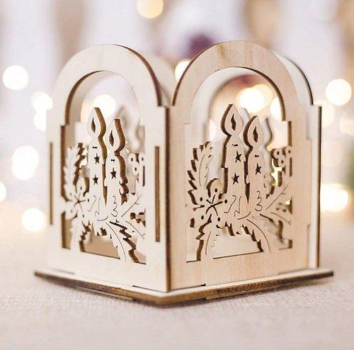 Supporto per candela in legno