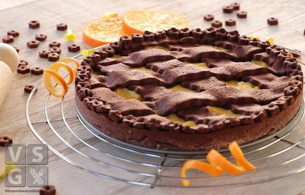 Crostata al cacao con crema all' arancia senza glutine