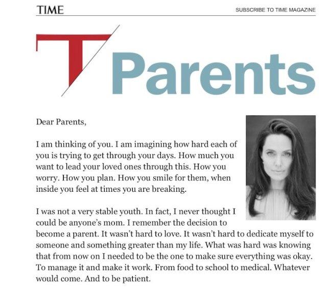 La lettera alle mamme di Angelina Jolie