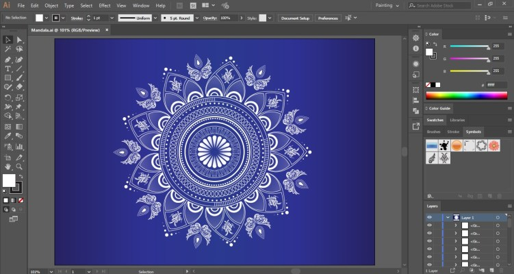 Mandala Drawing in Adobe Illustrator