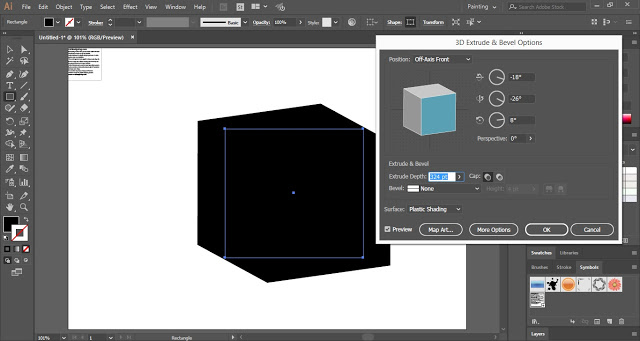 Increase the extrude depth of the 3D shape